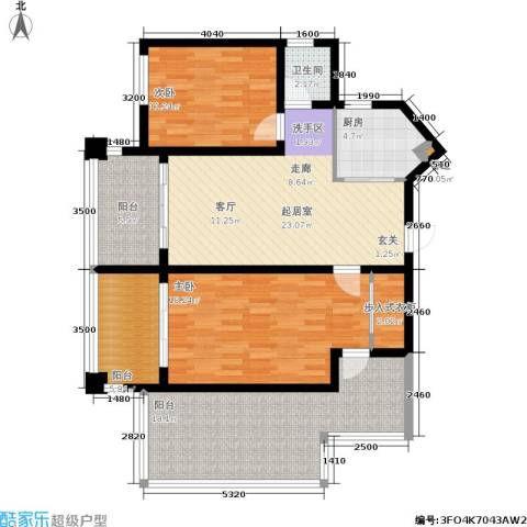 中央绿园2室0厅1卫1厨97.00㎡户型图