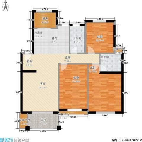 金色华庭3室0厅2卫1厨126.00㎡户型图