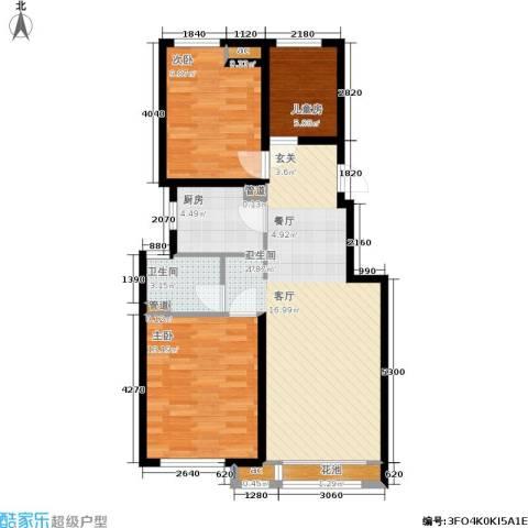 新城昱翠湾3室0厅1卫1厨76.00㎡户型图