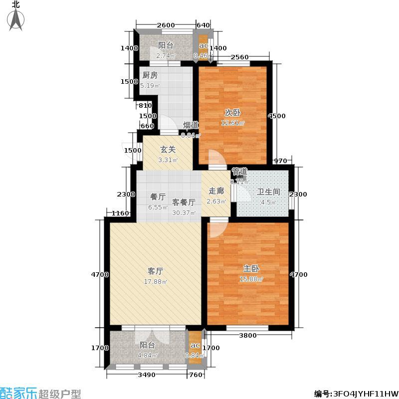龙泽馨园97.86㎡一期洋房产品10号楼标准层D2户型