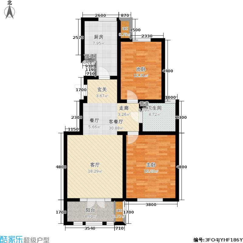 龙泽馨园98.92㎡一期洋房产品11、13-16号楼标准层B户型