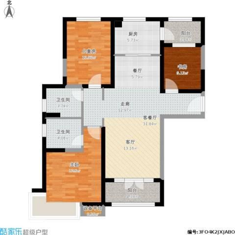 碧桂园滨海城3室1厅2卫1厨121.00㎡户型图