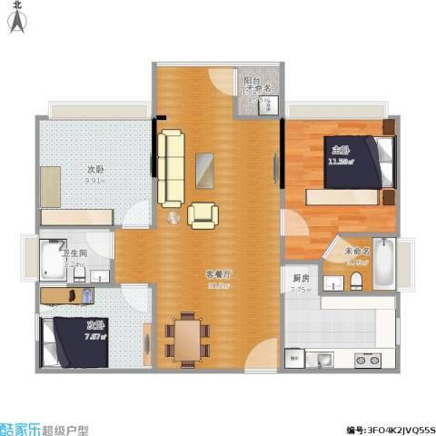 金达锦绣东方3室1厅1卫1厨103.00㎡户型图