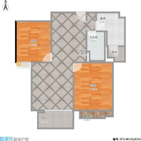 东外滩1号2室1厅1卫1厨78.00㎡户型图