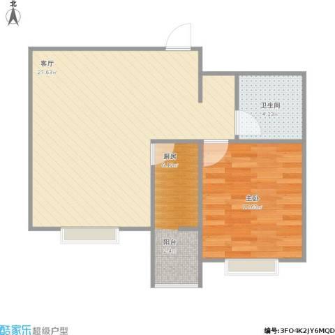 小镇西西里1室1厅1卫1厨66.00㎡户型图