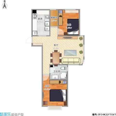 周庄嘉园三期2室1厅1卫1厨73.00㎡户型图