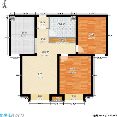 游龙逸海庭院2室0厅1卫1厨88.00㎡户型图