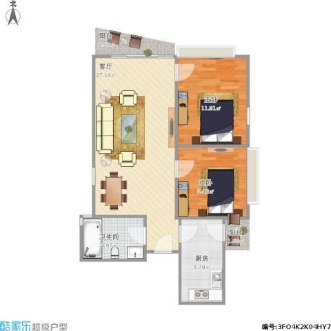 富力东堤湾2室1厅1卫1厨81.00㎡户型图