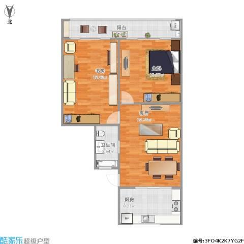 宝昌路847弄小区2室1厅1卫1厨98.00㎡户型图