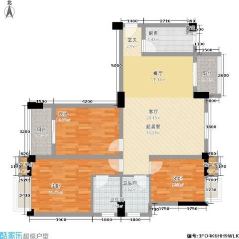 凯城花园3室0厅2卫1厨127.00㎡户型图