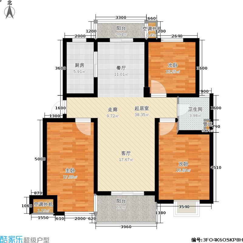 盛和东方名邸盛和东方名邸D户型3室2厅1卫1厨120.00㎡户型3室2厅1卫