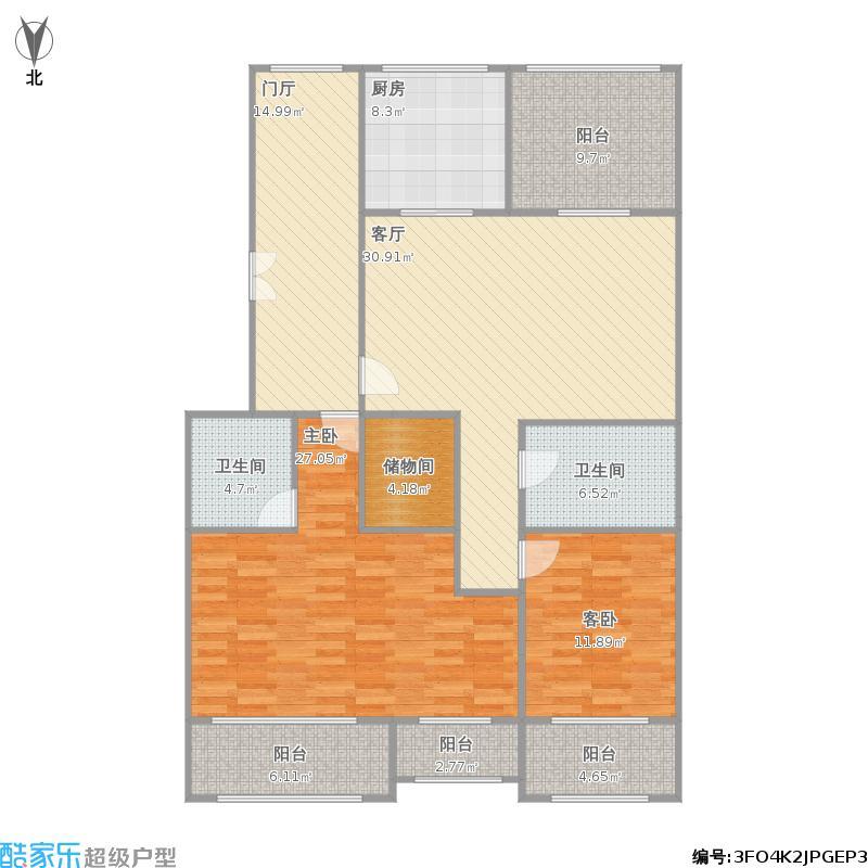 棕榈阳光118方A1+A2户型三室两厅两卫