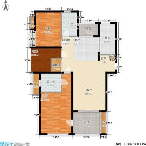 东外滩1号3室0厅2卫1厨134.00㎡户型图