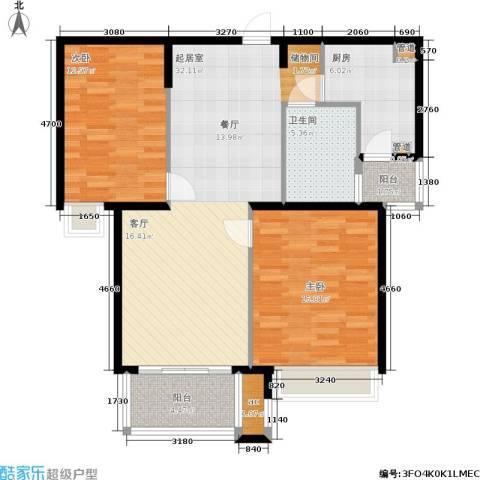 东外滩1号2室0厅1卫1厨92.00㎡户型图