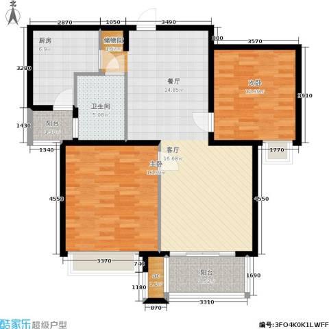 东外滩1号2室0厅1卫1厨94.00㎡户型图