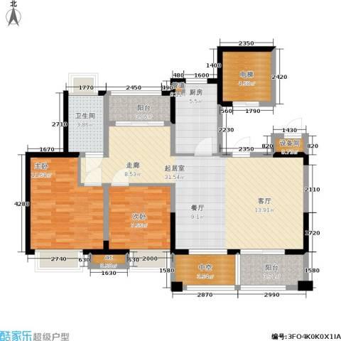 绿地新里派克公馆2室0厅1卫1厨90.00㎡户型图