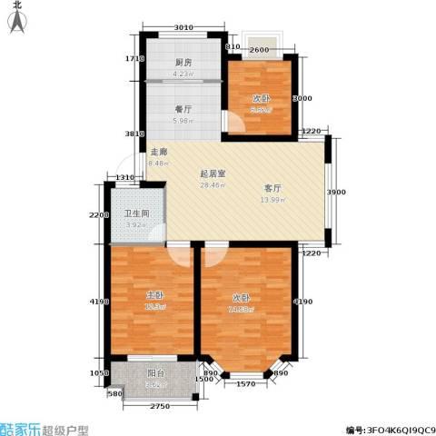 广天.青城雅居3室0厅1卫1厨105.00㎡户型图