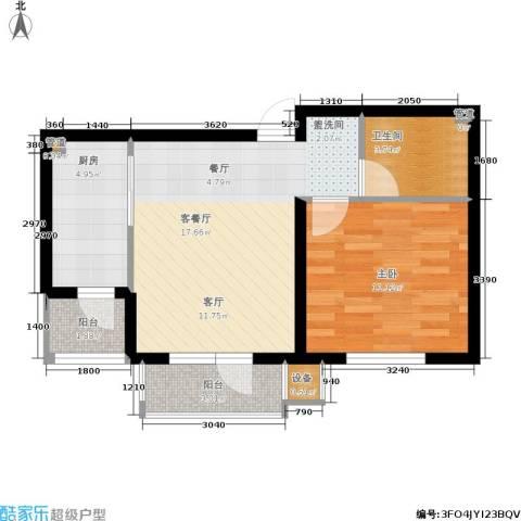 天房彩郡二期1室1厅1卫1厨66.00㎡户型图
