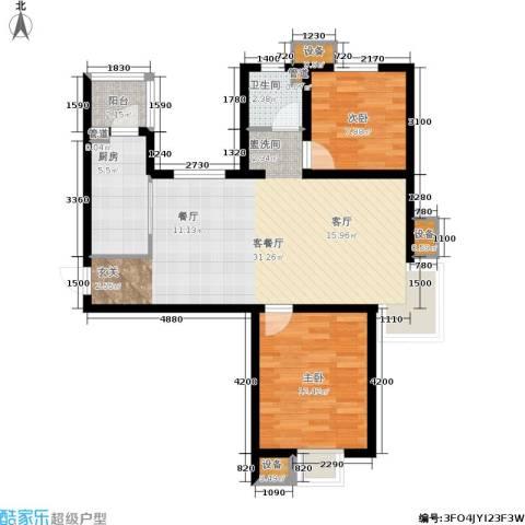 天房彩郡二期2室1厅1卫1厨90.00㎡户型图