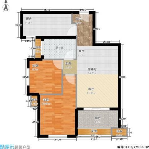 紫薇・花园洲2室1厅1卫1厨83.00㎡户型图