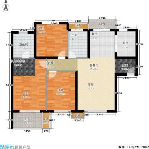 紫薇・花园洲3室1厅2卫1厨115.00㎡户型图