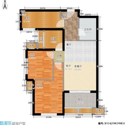 紫薇・花园洲2室1厅1卫1厨88.00㎡户型图