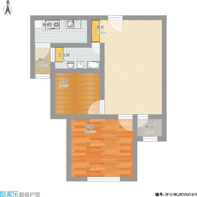宝欣苑B1地块的二室户型图