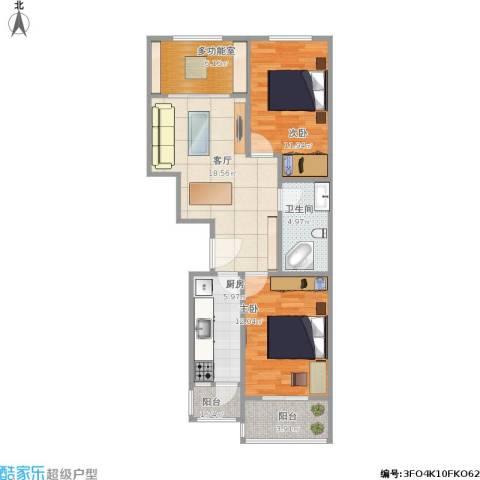 华龙苑北里2室1厅1卫1厨91.00㎡户型图