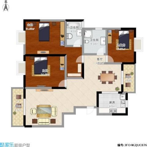 城开半岛花园3室1厅2卫1厨158.00㎡户型图