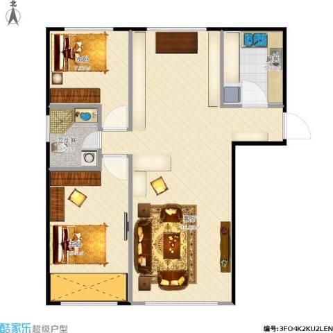 通州万达广场2室1厅1卫1厨87.00㎡户型图