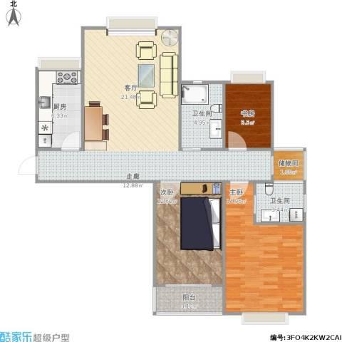广顺现代城3室1厅2卫1厨144.00㎡户型图