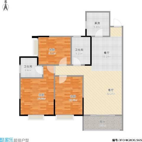 兰亭熙园3室1厅2卫1厨116.00㎡户型图