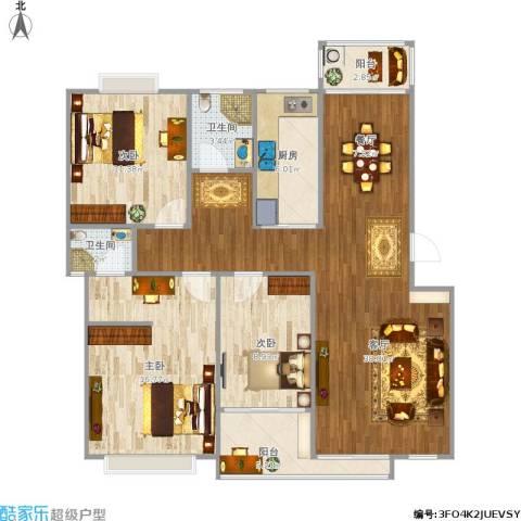 云锦美地3室1厅2卫1厨128.00㎡户型图