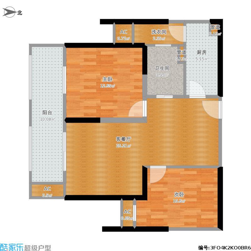 世茂东外滩92方D2户型两室两厅