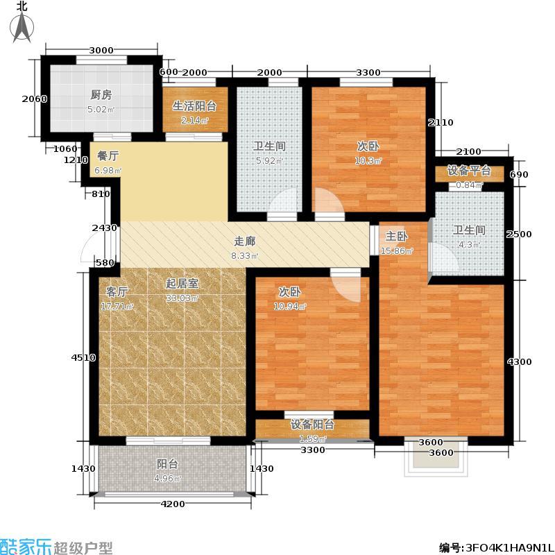 春晖家园115.00㎡二期143#B2顶层户型