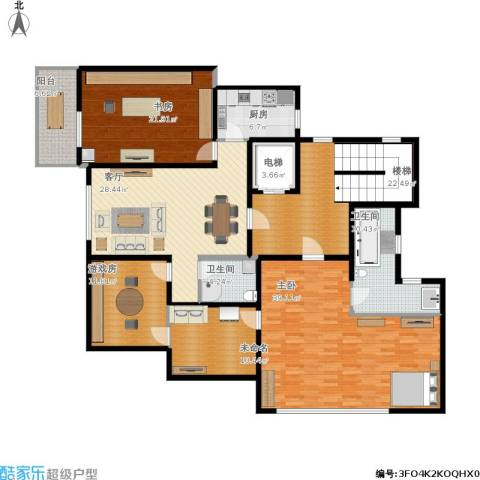 青果青城2室1厅2卫1厨230.00㎡户型图