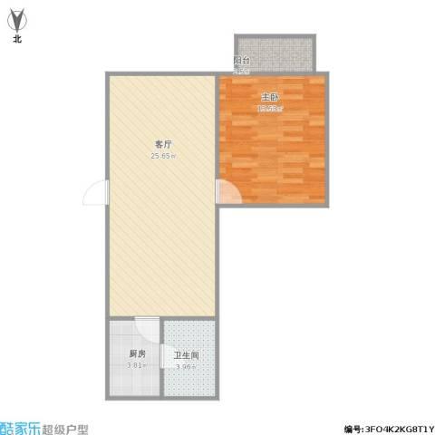保平小区1室1厅1卫1厨67.00㎡户型图