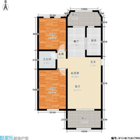煜明赫敦山(红桥蓝座二期)2室0厅1卫1厨128.00㎡户型图