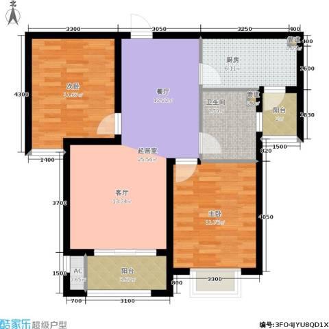 中惠卡丽兰2室0厅1卫1厨88.00㎡户型图