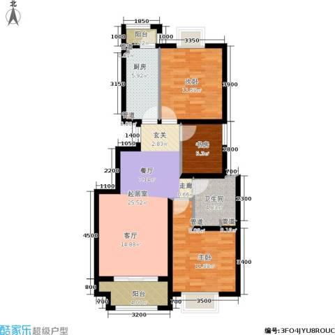 中惠卡丽兰3室0厅1卫1厨95.00㎡户型图