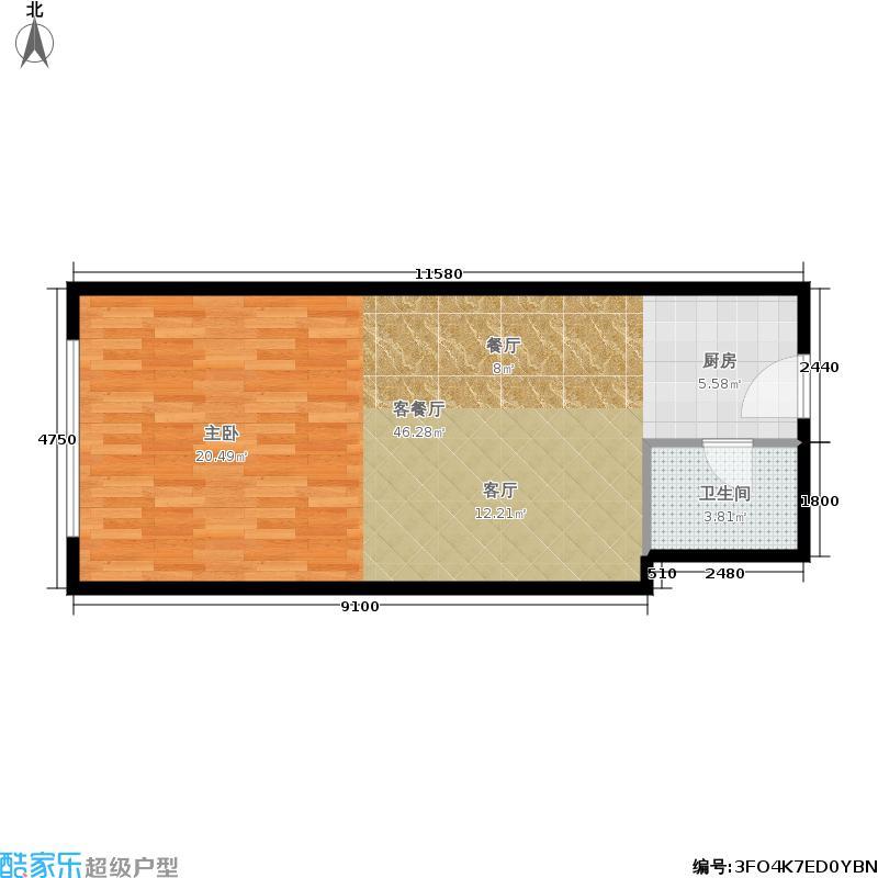 力拓国际53.80㎡户型3 一室一厅一厨一卫户型1室1厅1卫