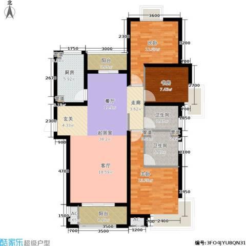 中惠卡丽兰3室0厅2卫1厨126.00㎡户型图