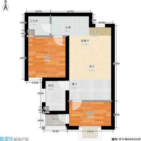 榕城世家2室1厅1卫1厨61.00㎡户型图