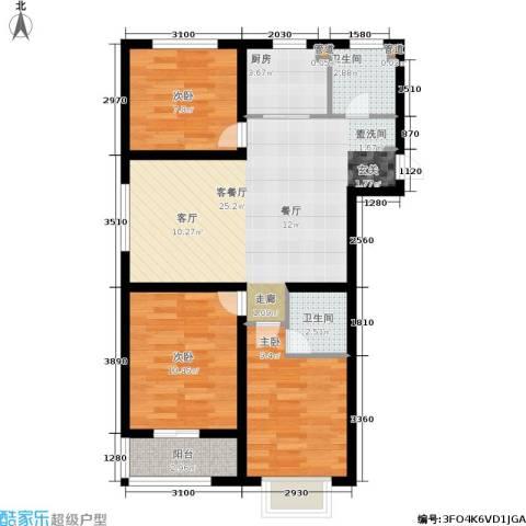 榕城世家3室1厅2卫1厨110.00㎡户型图