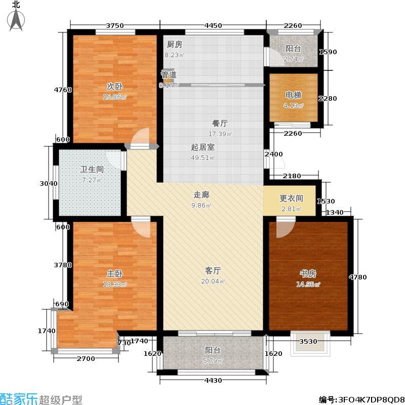 圣亚・绿溪园141.01㎡B13-J户型3室2厅