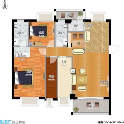 西堤国际花园3室2厅2卫1厨142.00㎡户型图