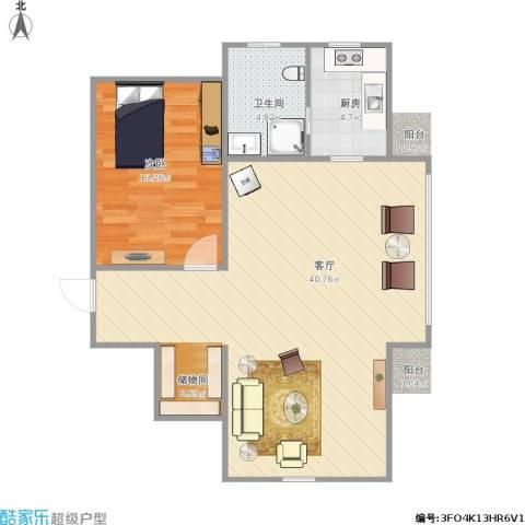 天福新城1室1厅1卫1厨84.00㎡户型图