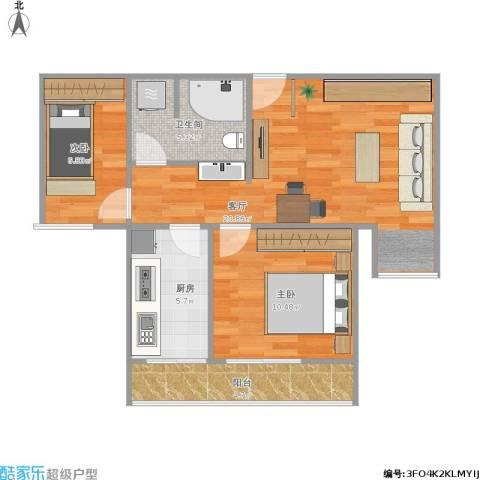 民族园9号院2室1厅1卫1厨74.00㎡户型图