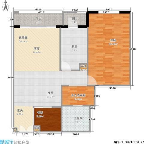 世茂宫园2室0厅1卫1厨106.00㎡户型图