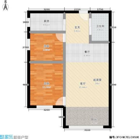恩源智湾2室0厅1卫1厨86.00㎡户型图